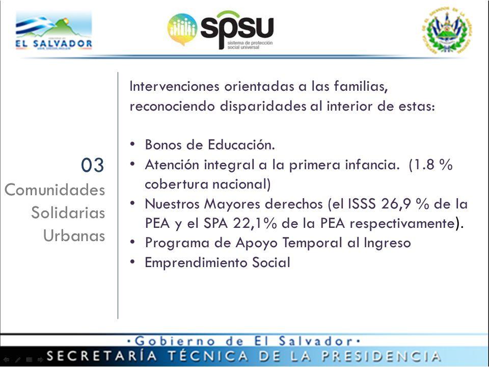 03 Comunidades Solidarias Urbanas Intervenciones orientadas a las familias, reconociendo disparidades al interior de estas: Bonos de Educación.