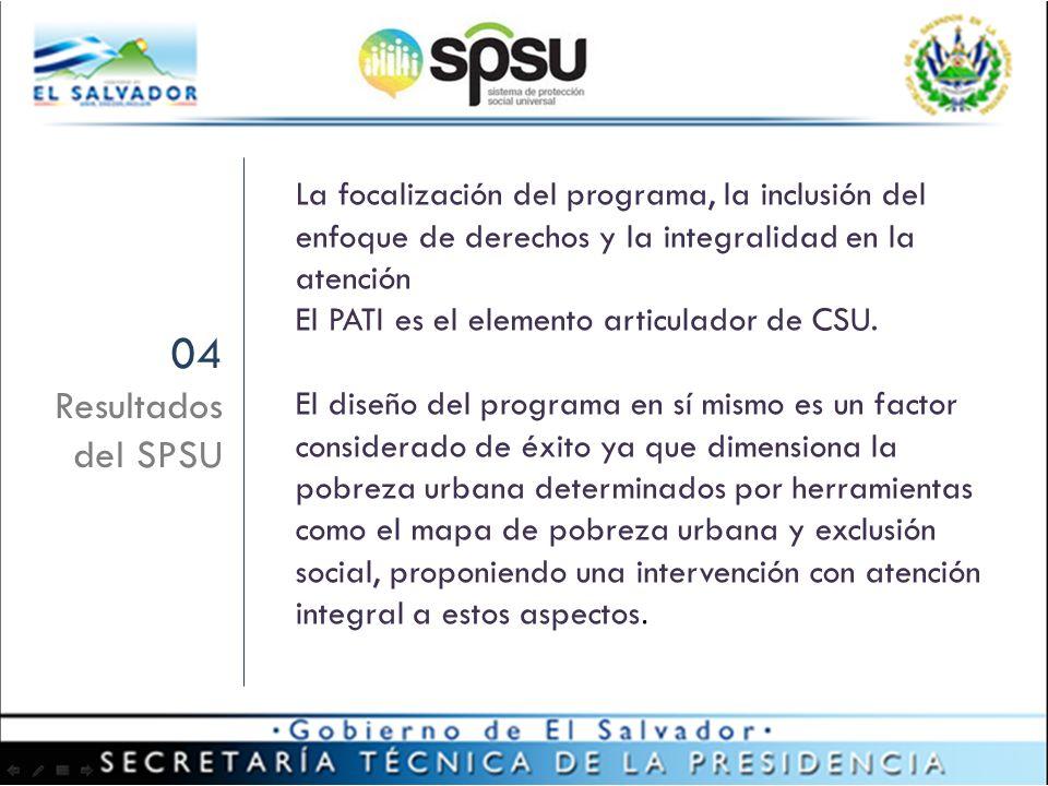 La focalización del programa, la inclusión del enfoque de derechos y la integralidad en la atención El PATI es el elemento articulador de CSU.