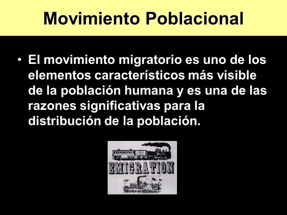 El movimiento migratorio es uno de los elementos característicos más visible de la población humana y es una de las razones significativas para la dis
