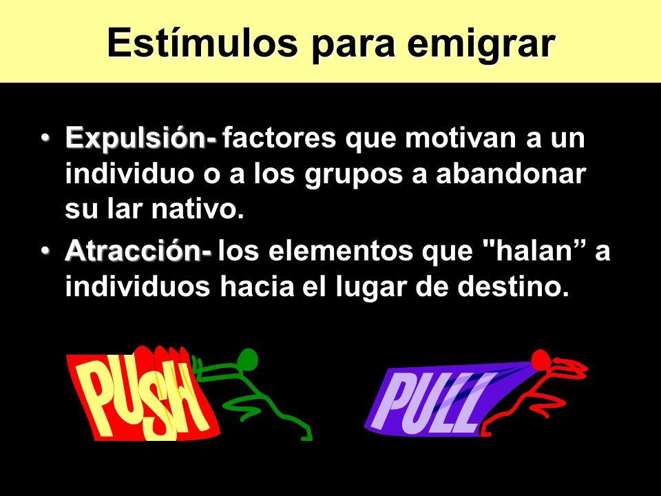 Expulsión-Expulsión- factores que motivan a un individuo o a los grupos a abandonar su lar nativo. Atracción-Atracción- los elementos que