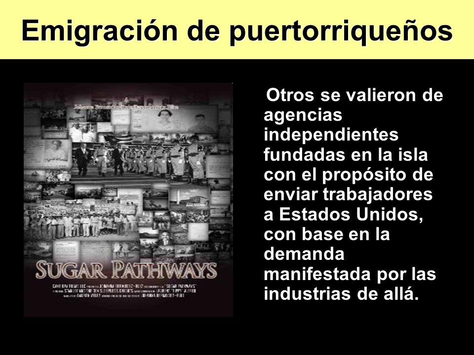 Otros se valieron de agencias independientes fundadas en la isla con el propósito de enviar trabajadores a Estados Unidos, con base en la demanda mani