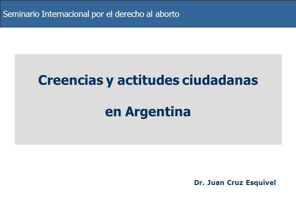 Seminario Internacional por el derecho al aborto Creencias y actitudes ciudadanas en Argentina Dr. Juan Cruz Esquivel