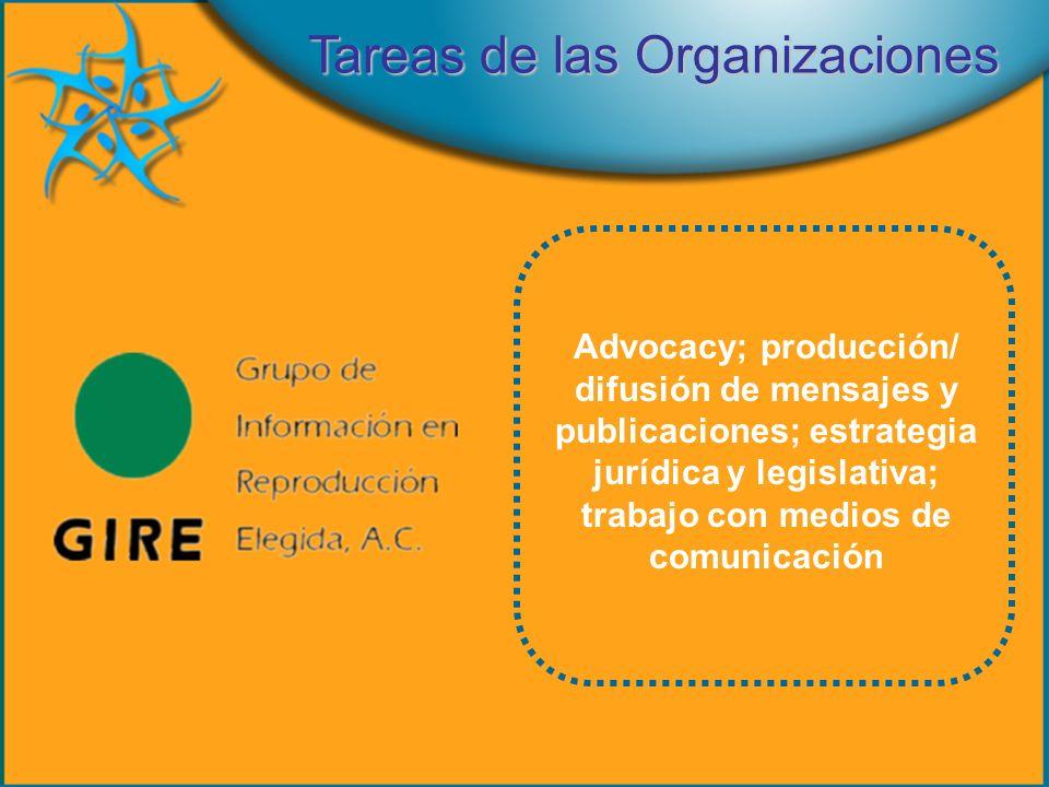 Advocacy; producción/ difusión de mensajes y publicaciones; estrategia jurídica y legislativa; trabajo con medios de comunicación Tareas de las Organizaciones
