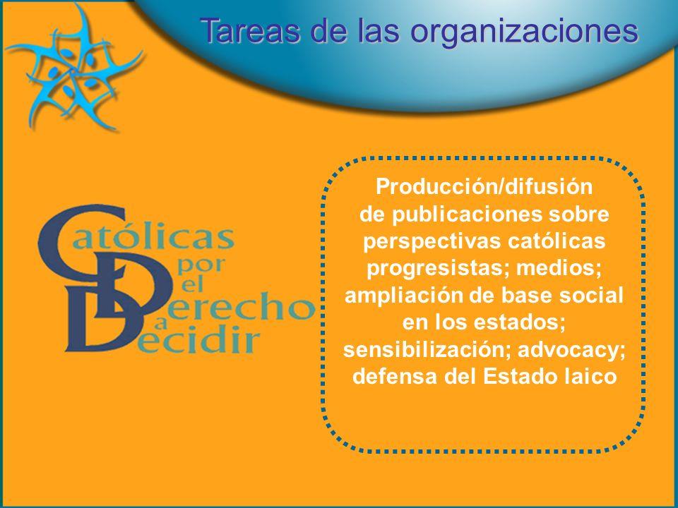 Producción/difusión de publicaciones sobre perspectivas católicas progresistas; medios; ampliación de base social en los estados; sensibilización; advocacy; defensa del Estado laico Tareas de las organizaciones