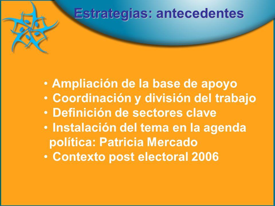 Ampliación de la base de apoyo Coordinación y división del trabajo Definición de sectores clave Instalación del tema en la agenda política: Patricia Mercado Contexto post electoral 2006 Estrategias: antecedentes