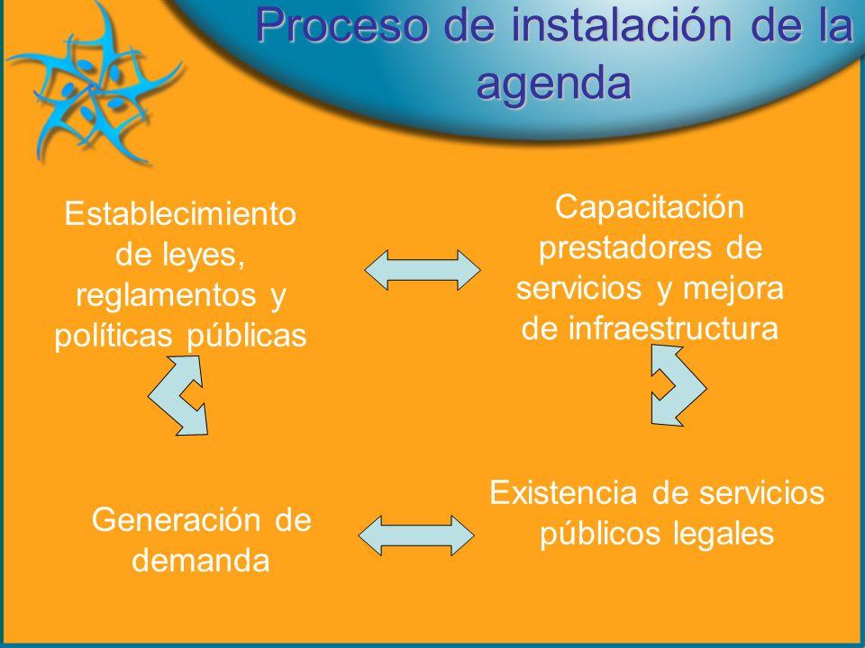 Proceso de instalación de la agenda Establecimiento de leyes, reglamentos y políticas públicas Capacitación prestadores de servicios y mejora de infraestructura Existencia de servicios públicos legales Generación de demanda