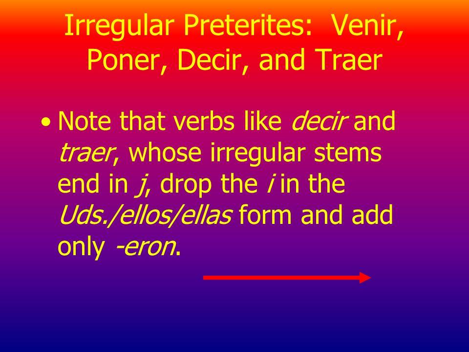Venir, Poner, Decir, and Traer Infinitive Decir Estar Poder Poner Tener Traer Venir Stem dij- estuv- pud- pus- tuv- traj- vin-