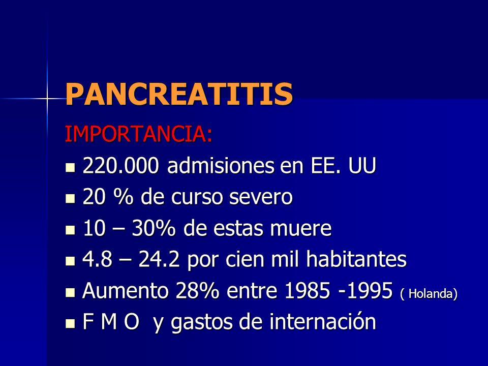 PANCREATITIS IMPORTANCIA: 220.000 admisiones en EE. UU 220.000 admisiones en EE. UU 20 % de curso severo 20 % de curso severo 10 – 30% de estas muere
