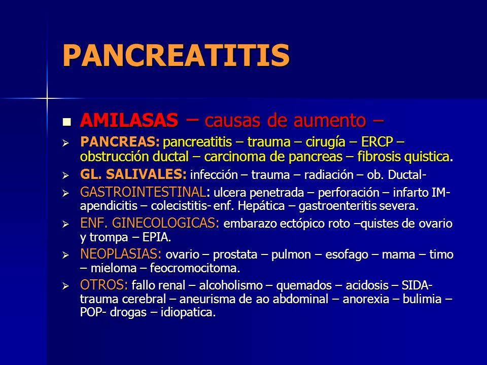 PANCREATITIS AMILASAS – causas de aumento – AMILASAS – causas de aumento – PANCREAS: pancreatitis – trauma – cirugía – ERCP – obstrucción ductal – car