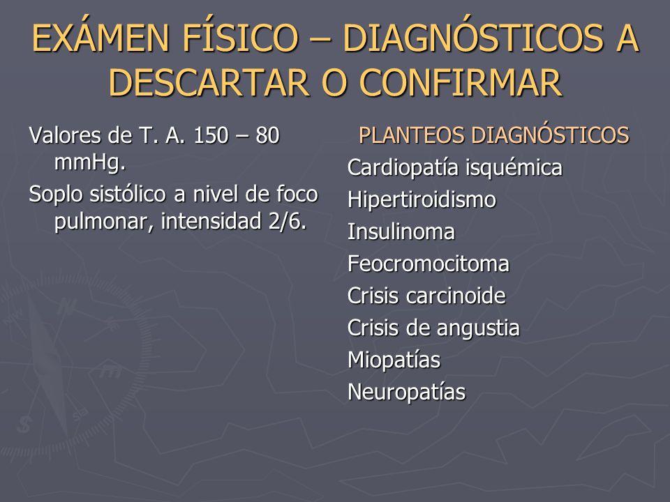 EXÁMEN FÍSICO – DIAGNÓSTICOS A DESCARTAR O CONFIRMAR Valores de T. A. 150 – 80 mmHg. Soplo sistólico a nivel de foco pulmonar, intensidad 2/6. PLANTEO