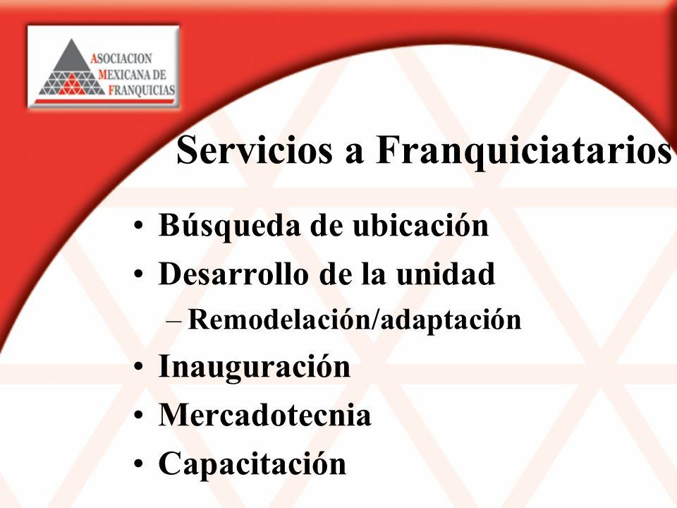 Servicios a Franquiciatarios Búsqueda de ubicación Desarrollo de la unidad –Remodelación/adaptación Inauguración Mercadotecnia Capacitación