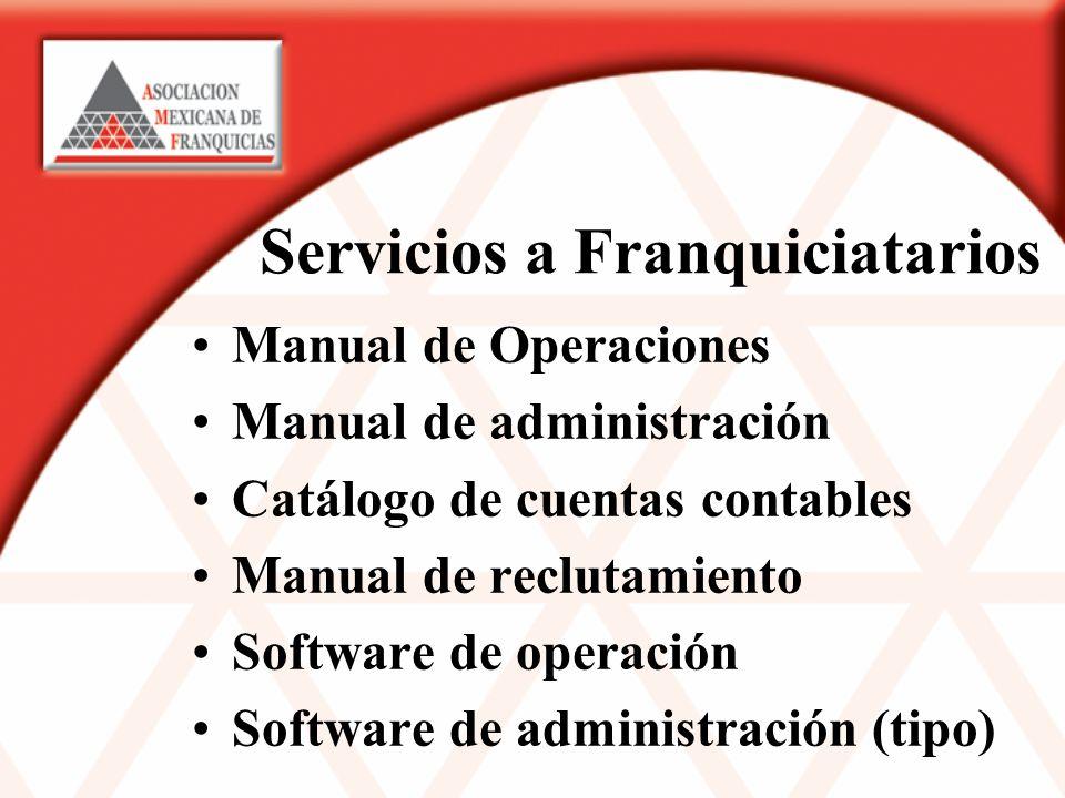 Servicios a Franquiciatarios Manual de Operaciones Manual de administración Catálogo de cuentas contables Manual de reclutamiento Software de operación Software de administración (tipo)
