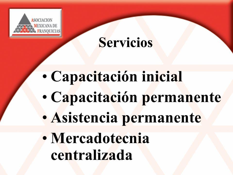 Servicios Capacitación inicial Capacitación permanente Asistencia permanente Mercadotecnia centralizada