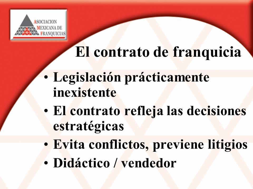 El contrato de franquicia Legislación prácticamente inexistente El contrato refleja las decisiones estratégicas Evita conflictos, previene litigios Didáctico / vendedor