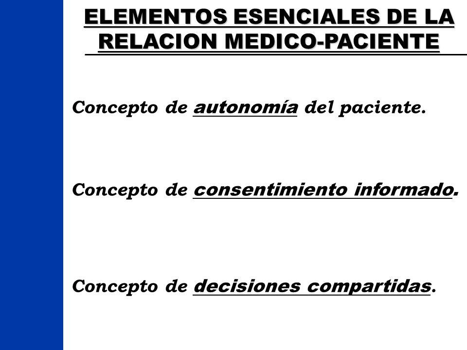 ELEMENTOS ESENCIALES DE LA RELACION MEDICO-PACIENTE Concepto de autonomía del paciente. Concepto de consentimiento informado. Concepto de decisiones c
