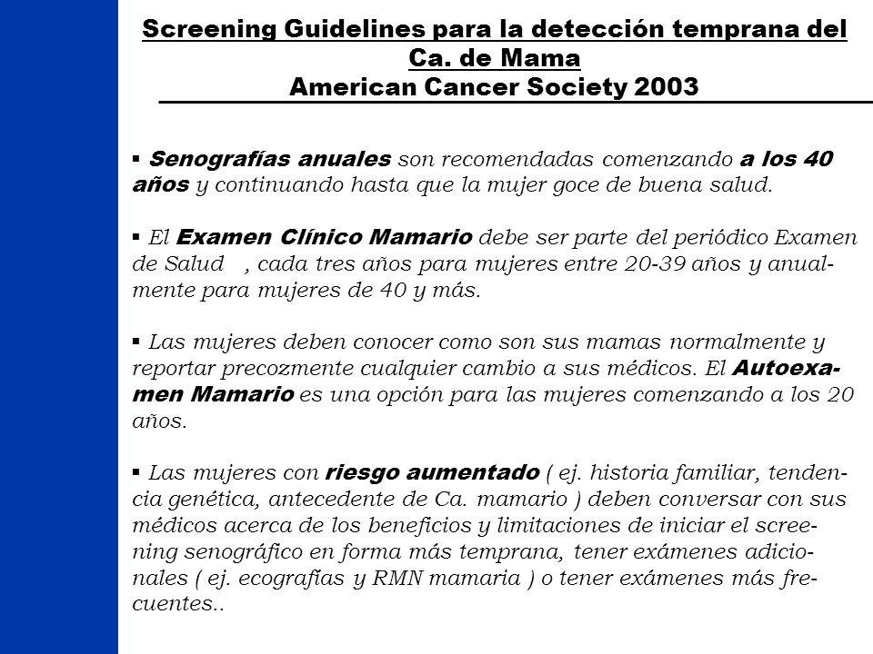 Screening Guidelines para la detección temprana del Ca. de Mama American Cancer Society 2003 Senografías anuales son recomendadas comenzando a los 40