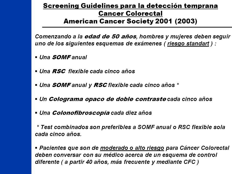 Screening Guidelines para la detección temprana Cancer Colorectal American Cancer Society 2001 (2003) Comenzando a la edad de 50 años, hombres y mujer