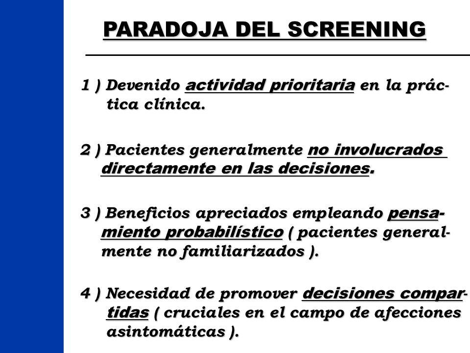 PARADOJA DEL SCREENING 1 ) Devenido actividad prioritaria en la prác- tica clínica. tica clínica. 3 ) Beneficios apreciados empleando pensa- miento pr