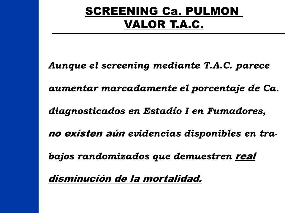 SCREENING Ca. PULMON VALOR T.A.C. Aunque el screening mediante T.A.C. parece aumentar marcadamente el porcentaje de Ca. diagnosticados en Estadío I en