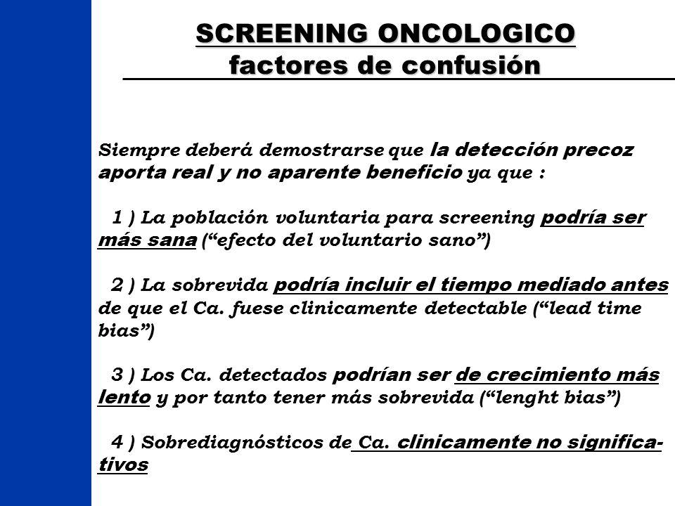 Screening Guidelines para la detección precoz Del Ca.