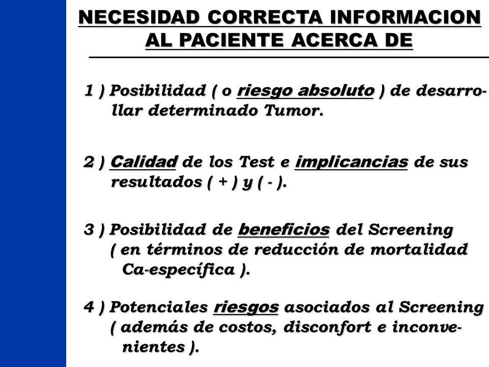 NECESIDAD CORRECTA INFORMACION AL PACIENTE ACERCA DE 1 ) Posibilidad ( o riesgo absoluto ) de desarro- llar determinado Tumor. llar determinado Tumor.