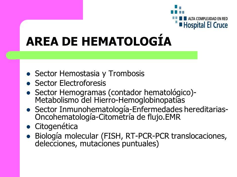 AREA DE HEMATOLOGÍA Sector Hemostasia y Trombosis Sector Electroforesis Sector Hemogramas (contador hematológico)- Metabolismo del Hierro-Hemoglobinopatías Sector Inmunohematología-Enfermedades hereditarias- Oncohematología-Citometría de flujo.EMR Citogenética Biología molecular (FISH, RT-PCR-PCR translocaciones, delecciones, mutaciones puntuales)