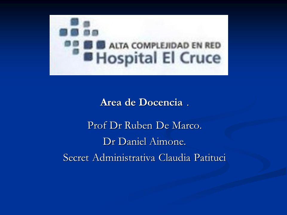 Area de Docencia. Prof Dr Ruben De Marco. Dr Daniel Aimone. Secret Administrativa Claudia Patituci