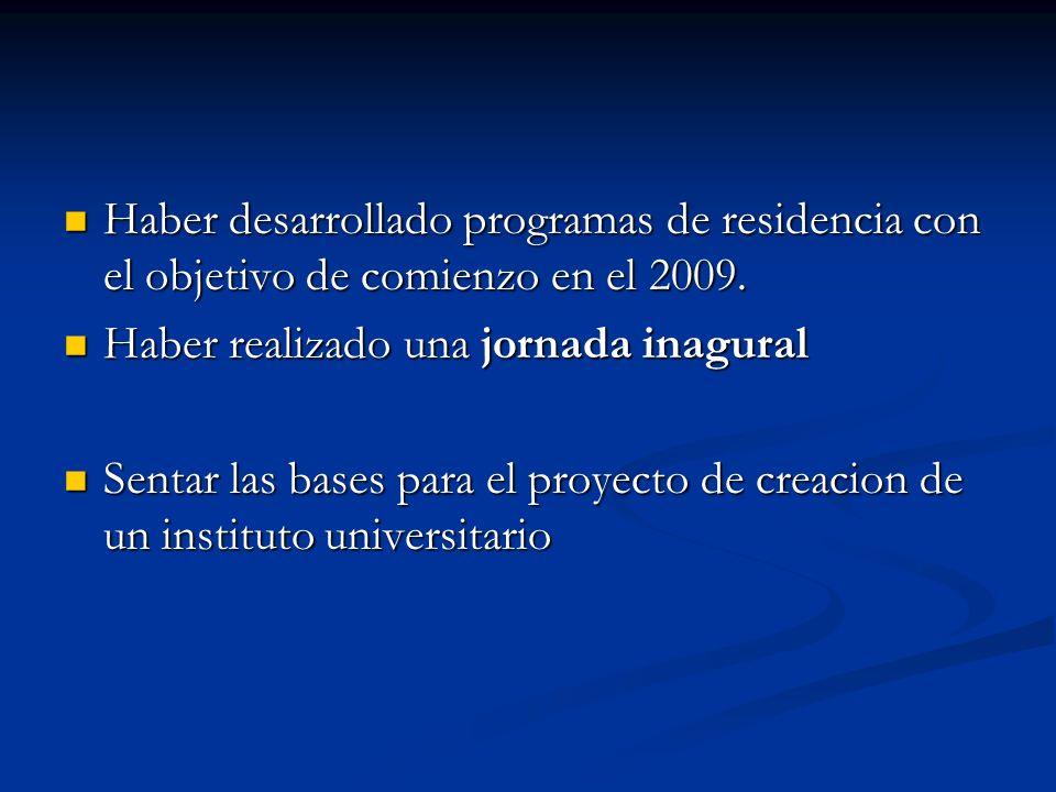 Haber desarrollado programas de residencia con el objetivo de comienzo en el 2009. Haber desarrollado programas de residencia con el objetivo de comie