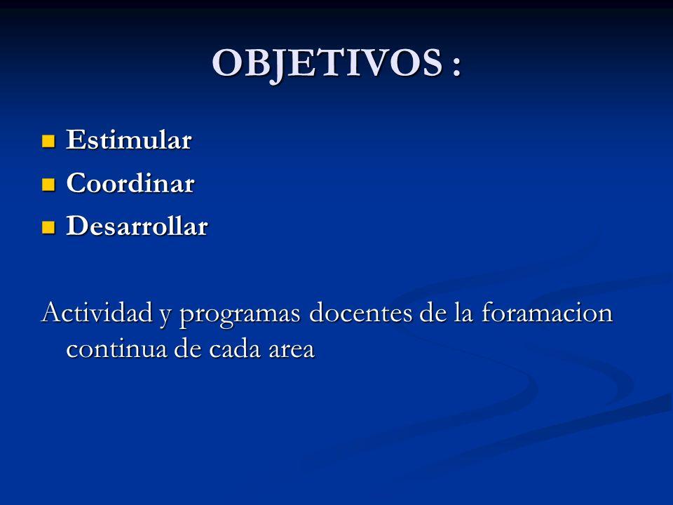 OBJETIVOS : Estimular Estimular Coordinar Coordinar Desarrollar Desarrollar Actividad y programas docentes de la foramacion continua de cada area
