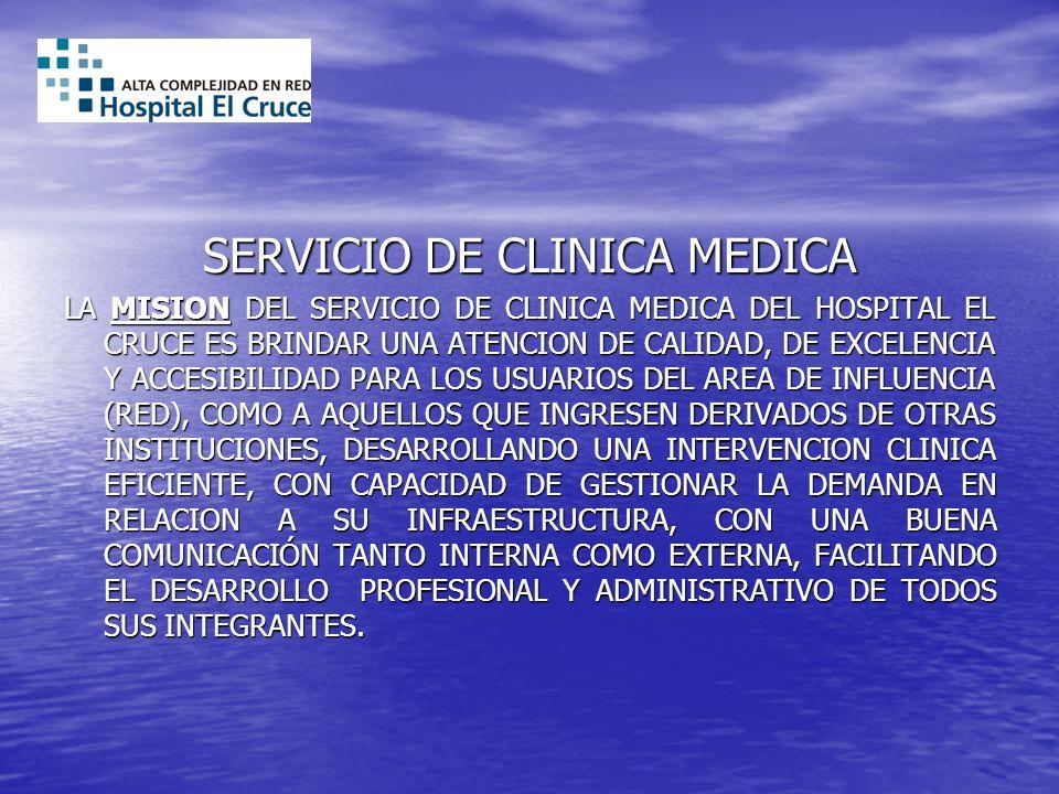 SERVICIO DE CLINICA MEDICA LA MISION DEL SERVICIO DE CLINICA MEDICA DEL HOSPITAL EL CRUCE ES BRINDAR UNA ATENCION DE CALIDAD, DE EXCELENCIA Y ACCESIBI