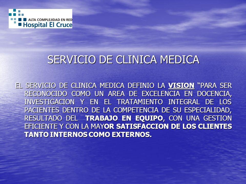 SERVICIO DE CLINICA MEDICA EL SERVICIO DE CLINICA MEDICA DEFINIO LA VISION PARA SER RECONOCIDO COMO UN AREA DE EXCELENCIA EN DOCENCIA, INVESTIGACION Y