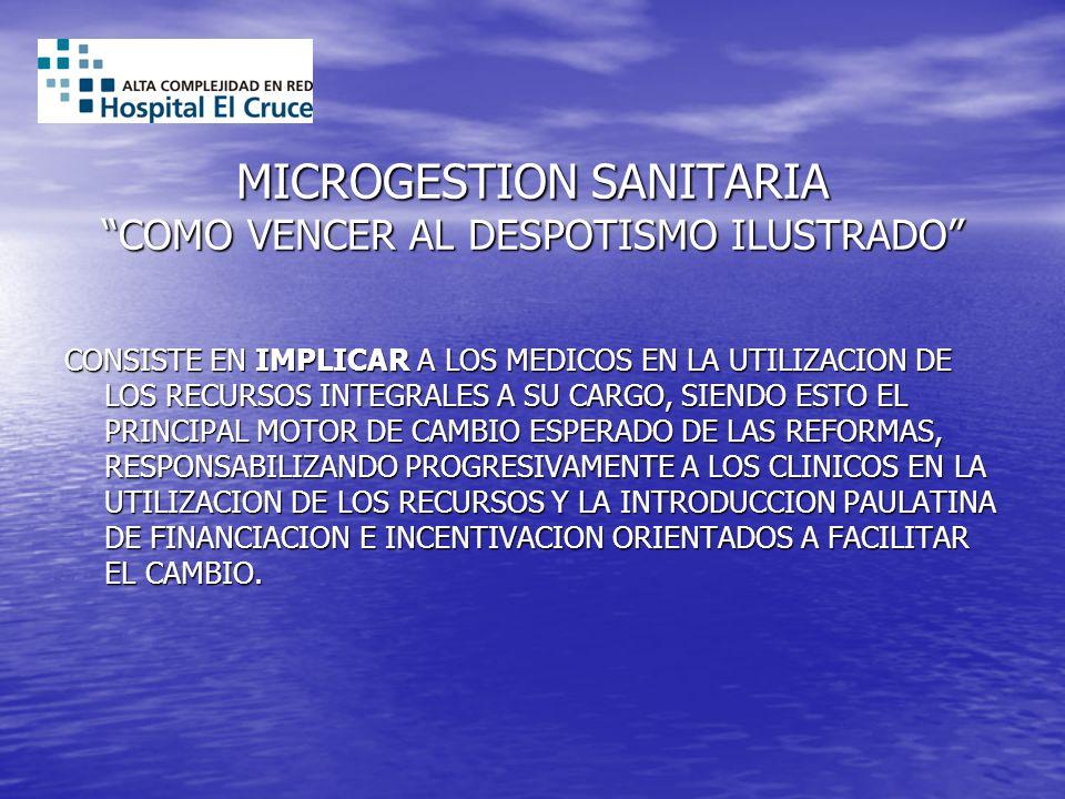 MICROGESTION SANITARIA COMO VENCER AL DESPOTISMO ILUSTRADO CONSISTE EN IMPLICAR A LOS MEDICOS EN LA UTILIZACION DE LOS RECURSOS INTEGRALES A SU CARGO,