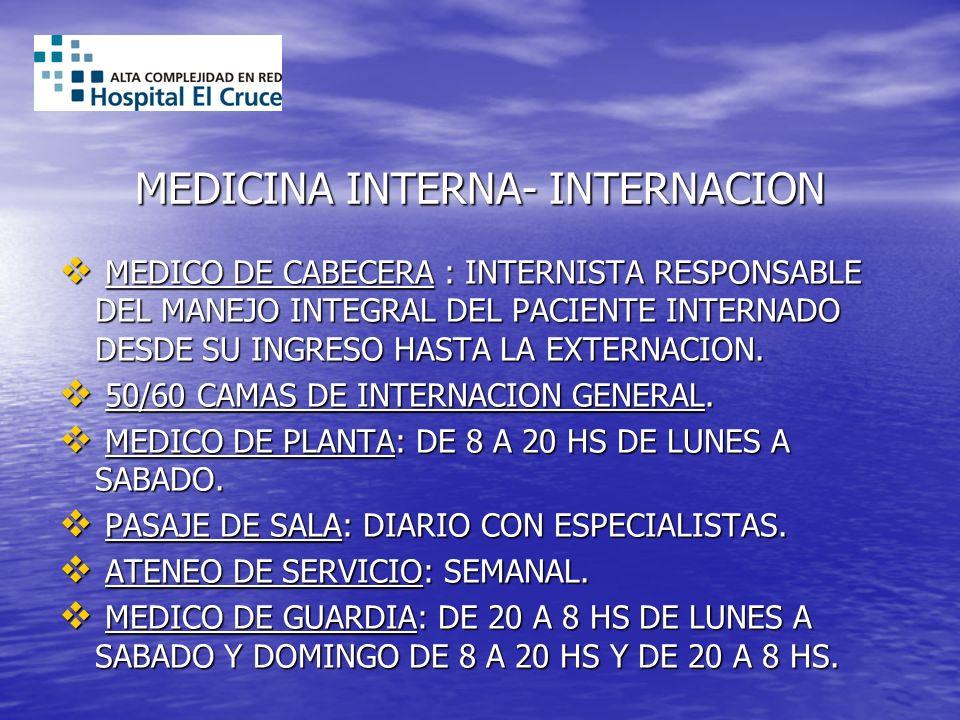 MEDICINA INTERNA- INTERNACION MEDICO DE CABECERA : INTERNISTA RESPONSABLE DEL MANEJO INTEGRAL DEL PACIENTE INTERNADO DESDE SU INGRESO HASTA LA EXTERNA