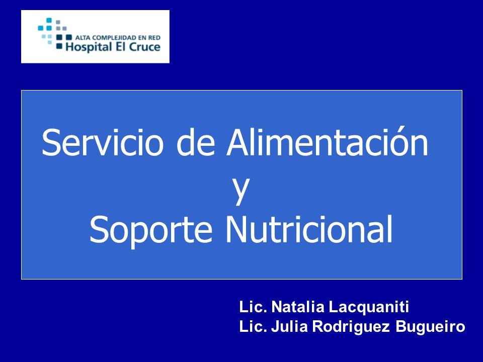 Servicio de Alimentación y Soporte Nutricional Lic. Natalia Lacquaniti Lic. Julia Rodriguez Bugueiro