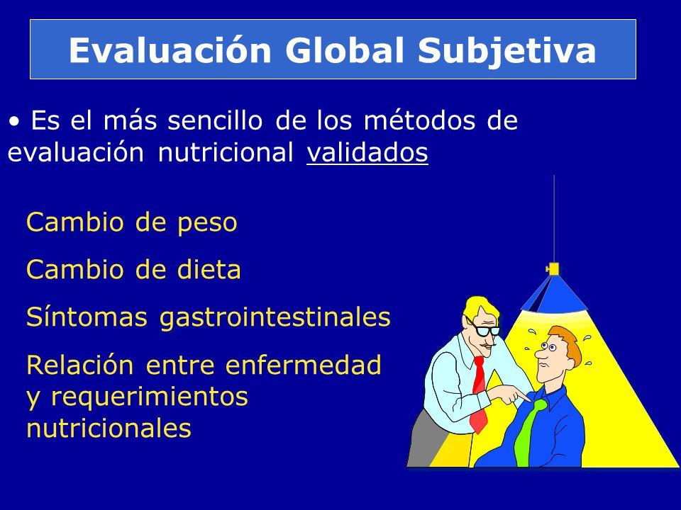 Evaluación Global Subjetiva Es el más sencillo de los métodos de evaluación nutricional validados Cambio de peso Cambio de dieta Síntomas gastrointest