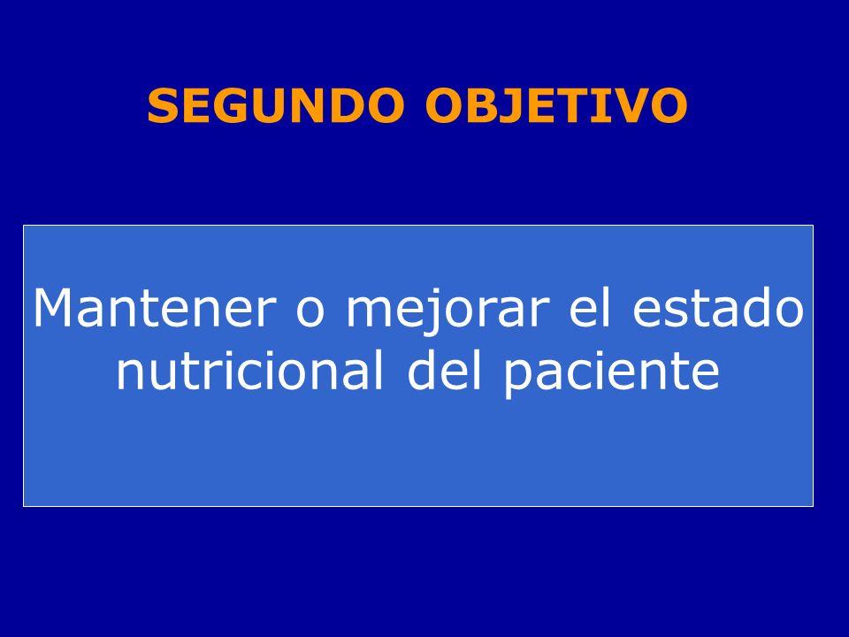 SEGUNDO OBJETIVO Mantener o mejorar el estado nutricional del paciente