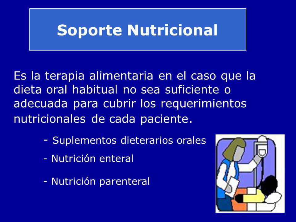 Soporte Nutricional Es la terapia alimentaria en el caso que la dieta oral habitual no sea suficiente o adecuada para cubrir los requerimientos nutric