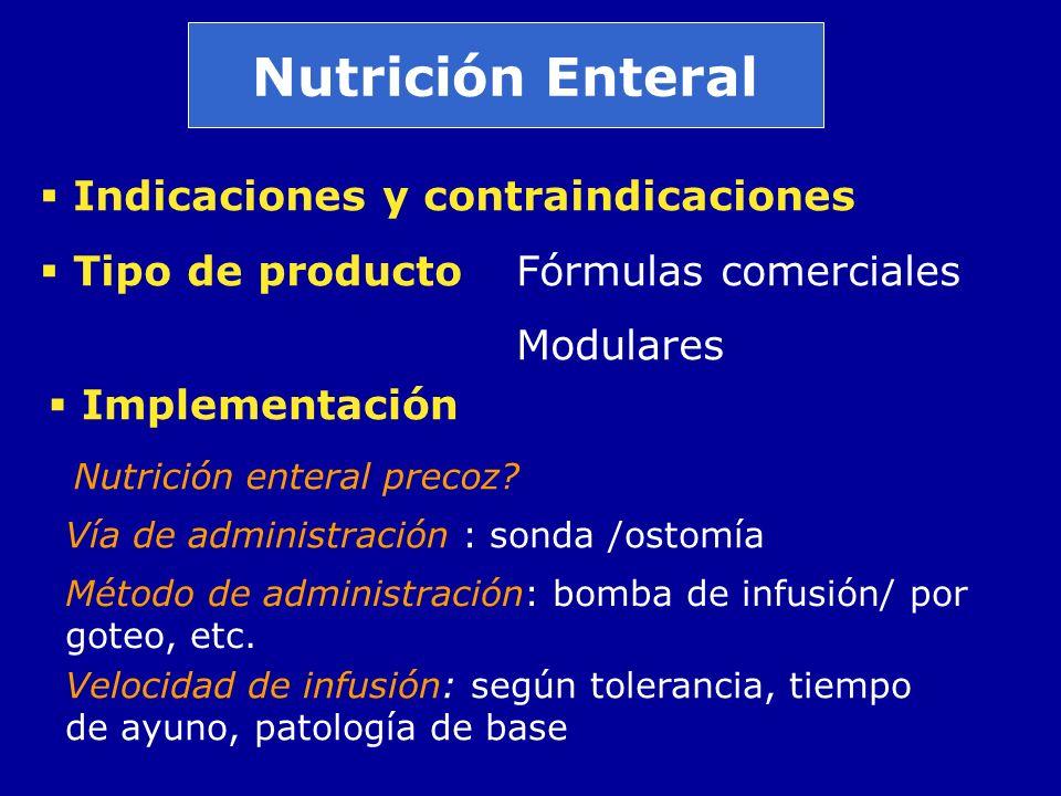 Nutrición Enteral Indicaciones y contraindicaciones Tipo de productoFórmulas comerciales Modulares Implementación Vía de administración : sonda /ostom