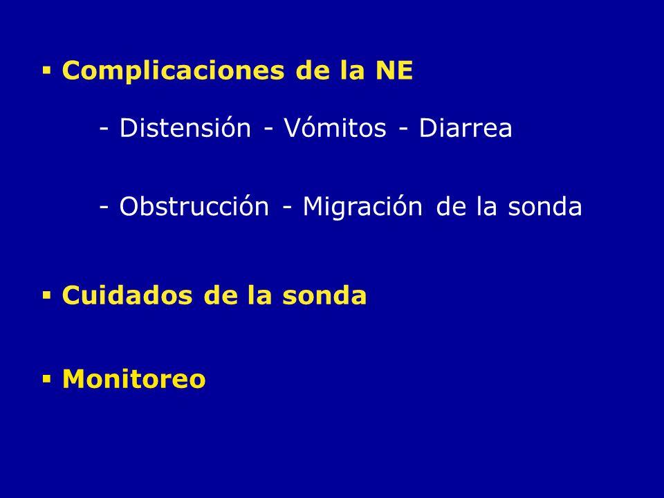 Cuidados de la sonda Complicaciones de la NE - Distensión - Vómitos - Diarrea Monitoreo - Obstrucción - Migración de la sonda