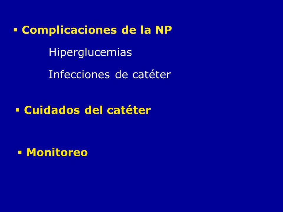 Complicaciones de la NP Hiperglucemias Infecciones de catéter Cuidados del catéter Monitoreo