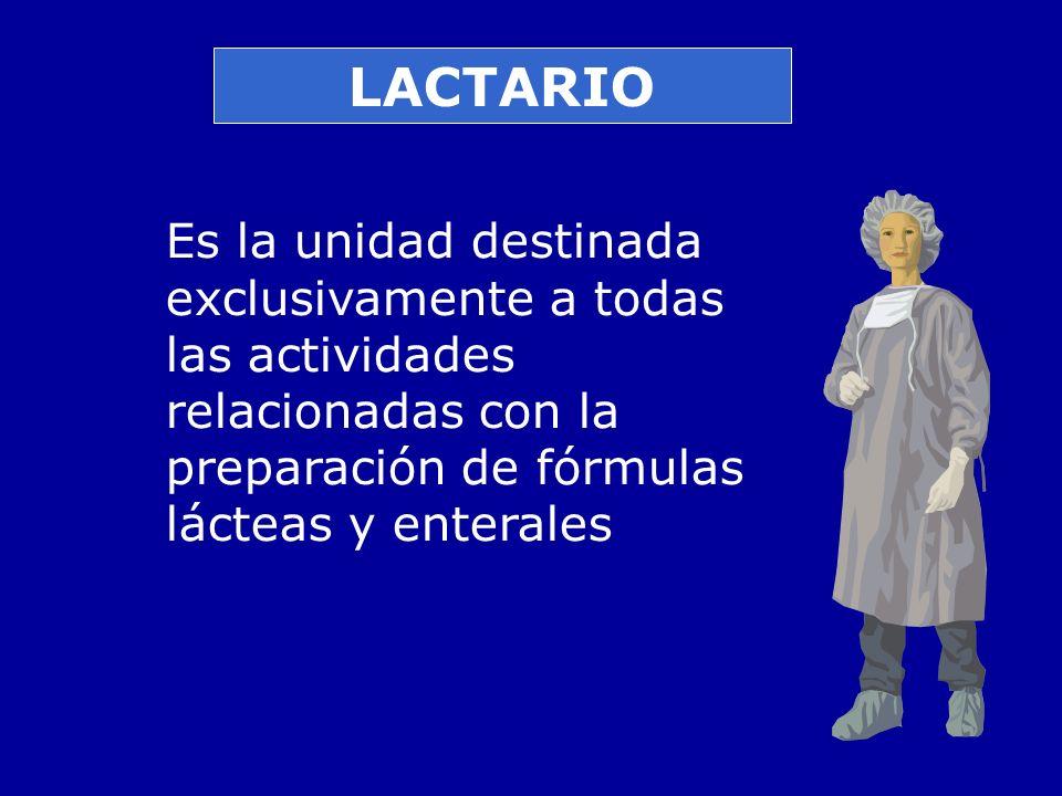 LACTARIO Es la unidad destinada exclusivamente a todas las actividades relacionadas con la preparación de fórmulas lácteas y enterales