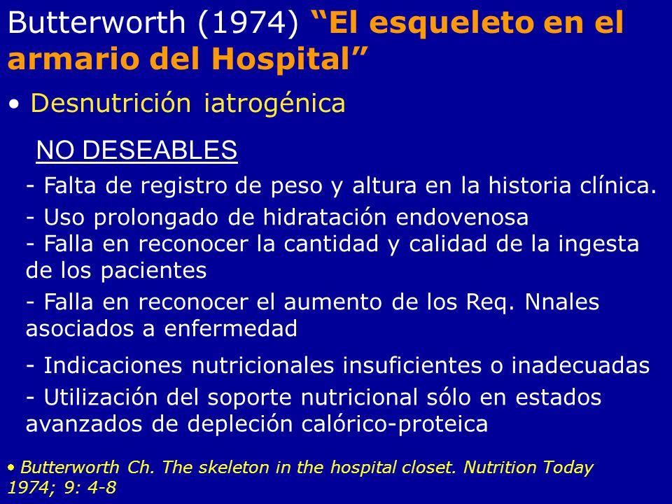 Butterworth (1974) El esqueleto en el armario del Hospital Desnutrición iatrogénica NO DESEABLES - Falta de registro de peso y altura en la historia c