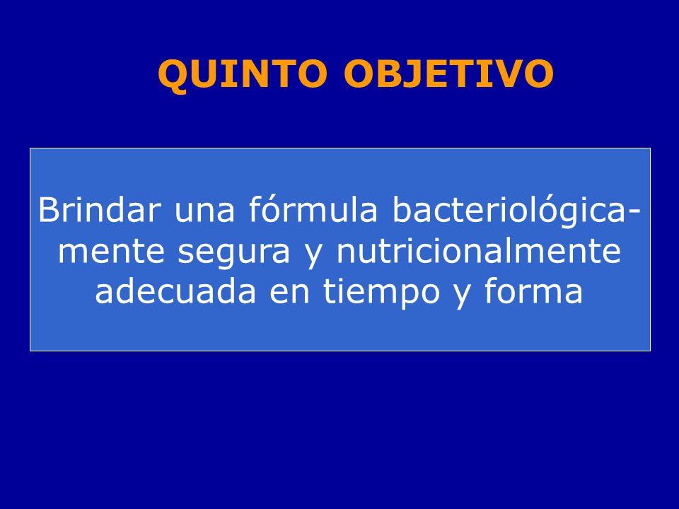 Brindar una fórmula bacteriológica- mente segura y nutricionalmente adecuada en tiempo y forma QUINTO OBJETIVO