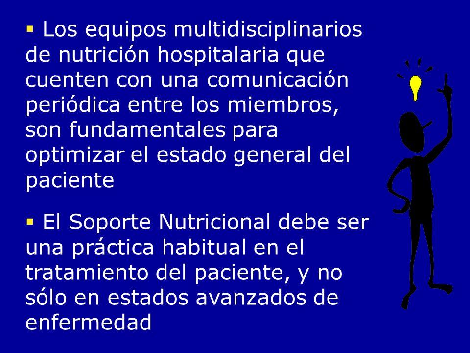 Los equipos multidisciplinarios de nutrición hospitalaria que cuenten con una comunicación periódica entre los miembros, son fundamentales para optimi