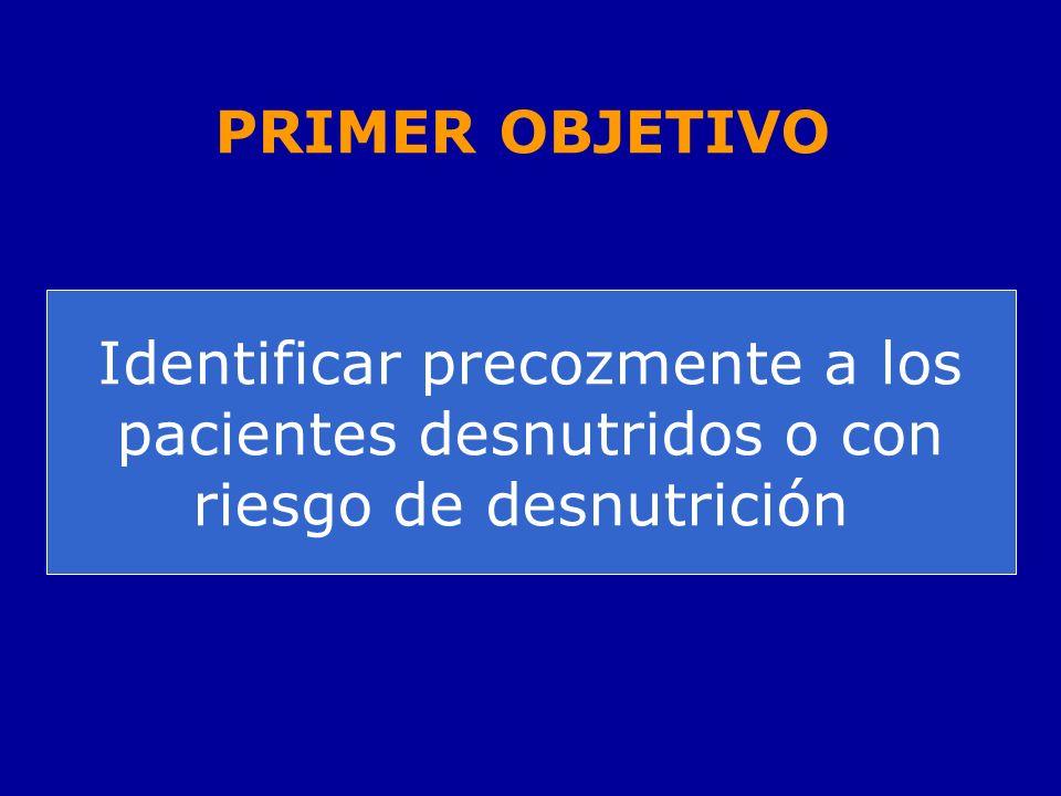 PRIMER OBJETIVO Identificar precozmente a los pacientes desnutridos o con riesgo de desnutrición