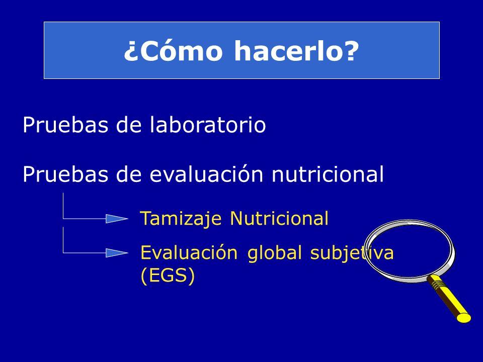¿Cómo hacerlo? Pruebas de laboratorio Pruebas de evaluación nutricional Tamizaje Nutricional Evaluación global subjetiva (EGS)