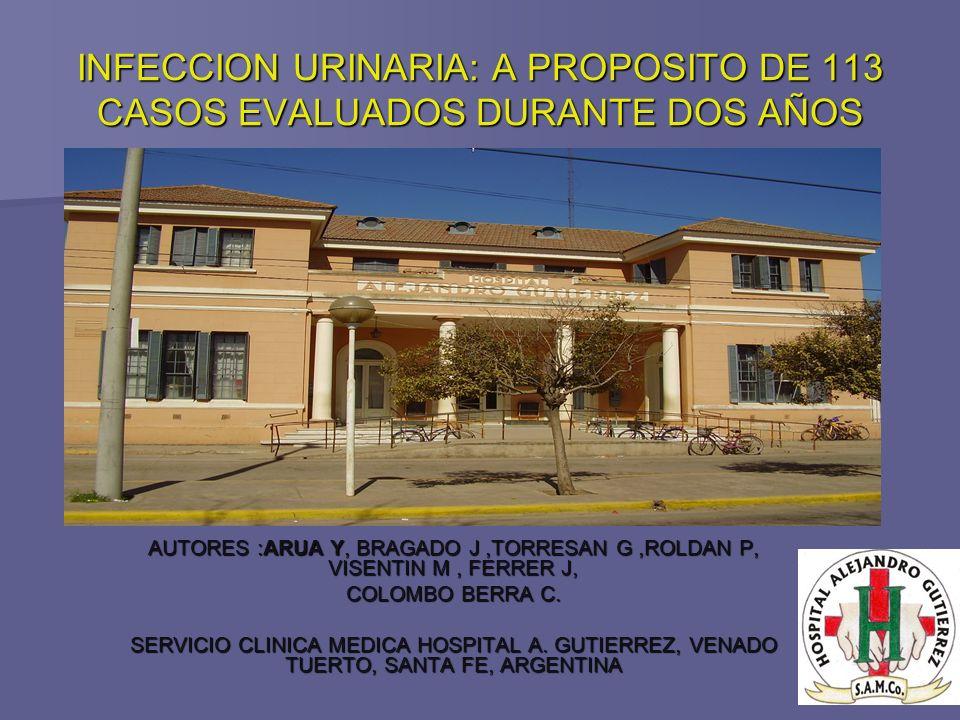 INFECCION URINARIA: A PROPOSITO DE 113 CASOS EVALUADOS DURANTE DOS AÑOS AUTORES :ARUA Y, BRAGADO J,TORRESAN G,ROLDAN P, VISENTIN M, FERRER J, COLOMBO BERRA C.