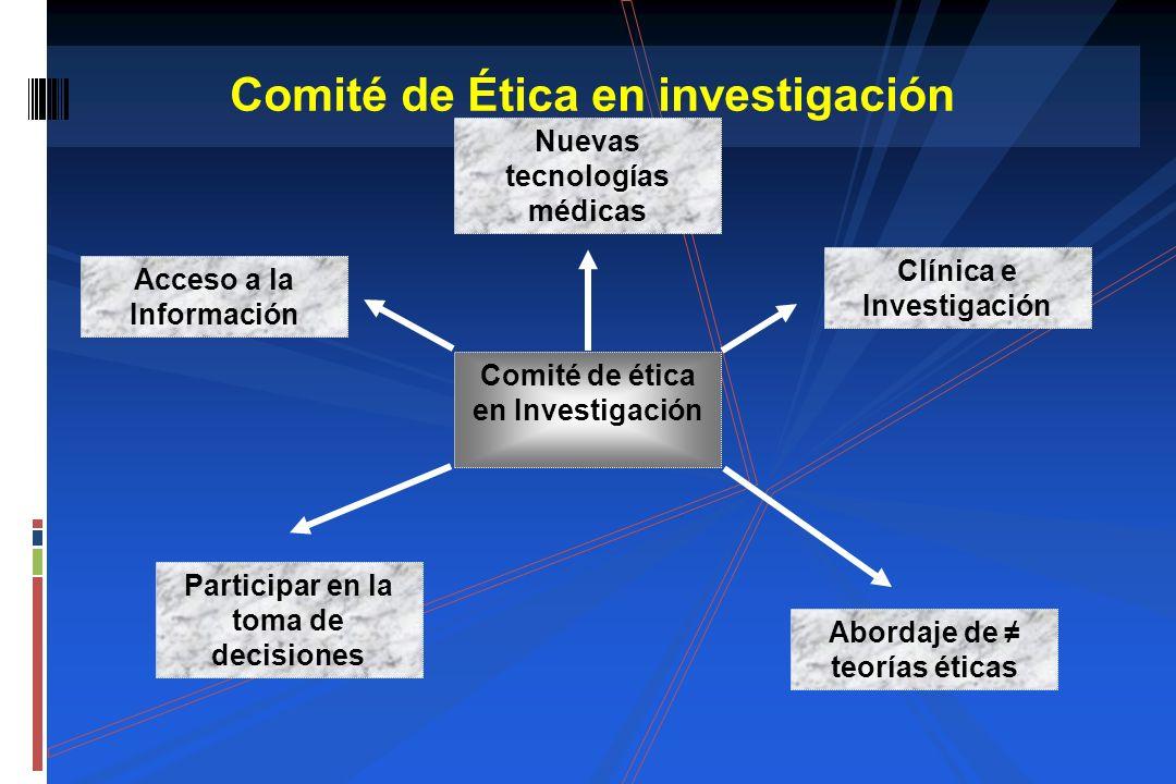 Comité de Ética en investigación Comité de ética en Investigación Acceso a la Información Nuevas tecnologías médicas Clínica e Investigación Abordaje