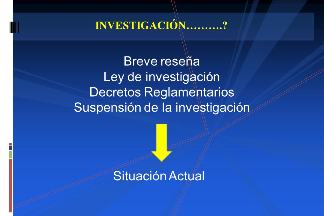 Breve reseña Ley de investigación Decretos Reglamentarios Suspensión de la investigación INVESTIGACIÓN……….? Situación Actual