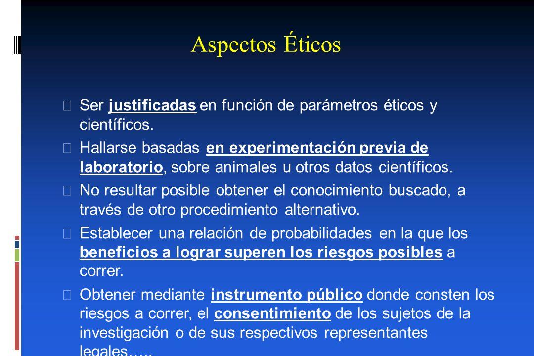 Aspectos Éticos Ser justificadas en función de parámetros éticos y científicos. Hallarse basadas en experimentación previa de laboratorio, sobre anima